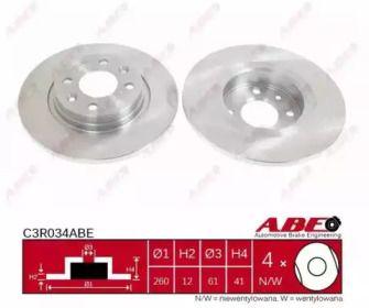 Передний тормозной диск на Рено Логан 'ABE C3R034ABE'.