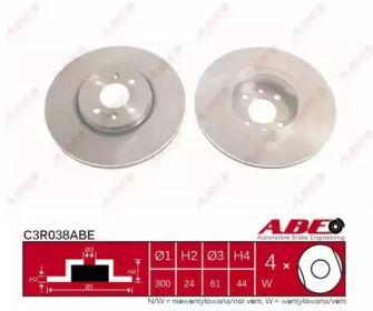 Вентилируемый тормозной диск 'ABE C3R038ABE'.