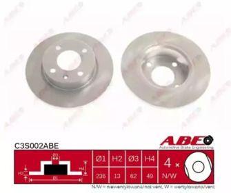 Тормозной диск на Шкода Фаворит 'ABE C3S002ABE'.