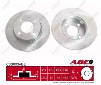Тормозной диск на SKODA FAVORIT 'ABE C3S003ABE'.