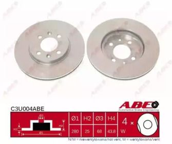 Вентилируемый тормозной диск на Сааб 9000 'ABE C3U004ABE'.