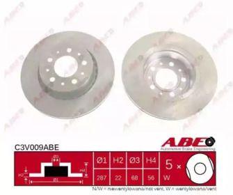 Вентилируемый тормозной диск на VOLVO 760 'ABE C3V009ABE'.