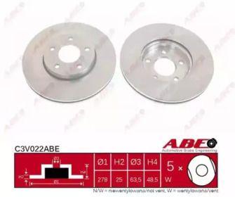 Вентилируемый тормозной диск на VOLVO V50 'ABE C3V022ABE'.