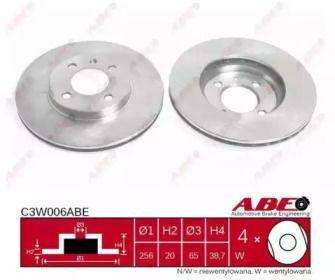 Вентилируемый тормозной диск на SEAT INCA 'ABE C3W006ABE'.