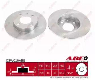 Тормозной диск на VOLKSWAGEN DERBY 'ABE C3W010ABE'.