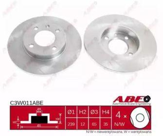 Тормозной диск на VOLKSWAGEN JETTA 'ABE C3W011ABE'.