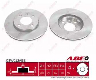Вентилируемый тормозной диск на AUDI 80 'ABE C3W012ABE'.