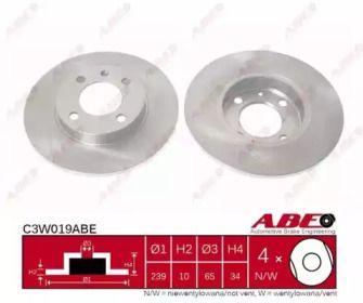 Тормозной диск на SEAT AROSA 'ABE C3W019ABE'.