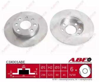 Тормозной диск на Опель Комбо 'ABE C3X001ABE'.