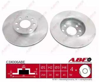 Вентилируемый тормозной диск на Опель Зафира 'ABE C3X006ABE'.