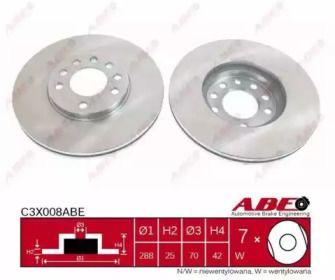 Вентилируемый тормозной диск на Опель Калибра 'ABE C3X008ABE'.