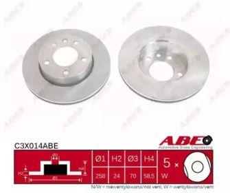 Вентилируемый тормозной диск на Опель Омега 'ABE C3X014ABE'.