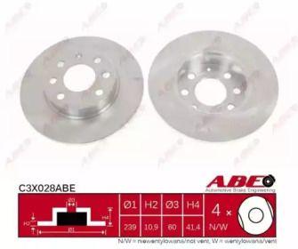 Тормозной диск на OPEL CORSA 'ABE C3X028ABE'.