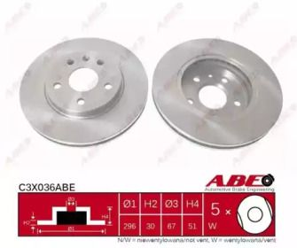 Вентилируемый тормозной диск на CHEVROLET MALIBU 'ABE C3X036ABE'.