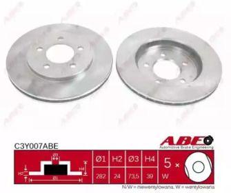 Вентилируемый передний тормозной диск на Додж Караван 'ABE C3Y007ABE'.