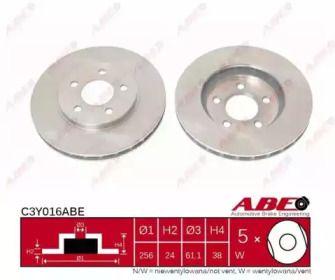 Вентилируемый передний тормозной диск на DODGE CARAVAN 'ABE C3Y016ABE'.