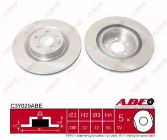 Вентилируемый передний тормозной диск на DODGE CHALLENGER 'ABE C3Y029ABE'.