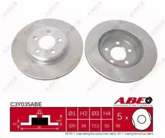 Вентилируемый передний тормозной диск на DODGE CHALLENGER 'ABE C3Y035ABE'.