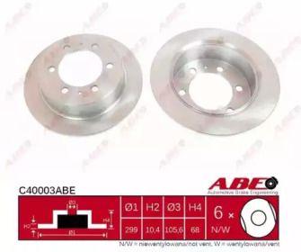 Тормозной диск на SSANGYONG KORANDO 'ABE C40003ABE'.
