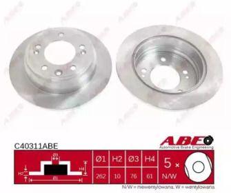 Тормозной диск на KIA CEED 'ABE C40311ABE'.