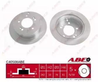 Тормозной диск на KIA MAGENTIS 'ABE C40508ABE'.