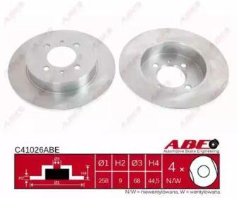 Задний тормозной диск на NISSAN 100NX 'ABE C41026ABE'.