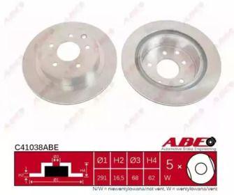 Вентилируемый тормозной диск на RENAULT KOLEOS 'ABE C41038ABE'.