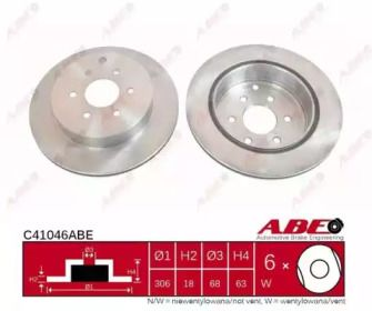 Вентилируемый тормозной диск на NISSAN NAVARA 'ABE C41046ABE'.