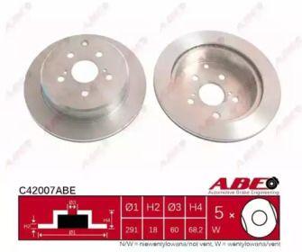 Вентилируемый тормозной диск на Тайота Супра 'ABE C42007ABE'.