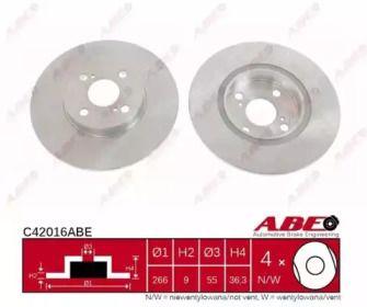 Тормозной диск на Тайота Королла 'ABE C42016ABE'.