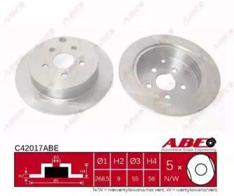 Тормозной диск на TOYOTA PRIUS 'ABE C42017ABE'.