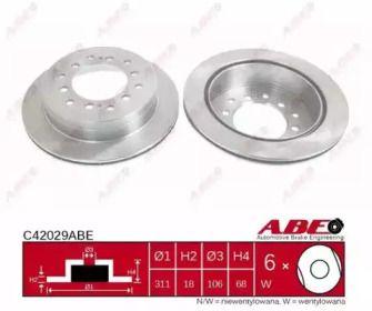 Вентилируемый тормозной диск на TOYOTA LAND CRUISER PRADO 'ABE C42029ABE'.