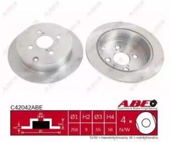 Тормозной диск на TOYOTA COROLLA 'ABE C42042ABE'.