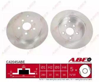 Тормозной диск на TOYOTA AVENSIS 'ABE C42045ABE'.