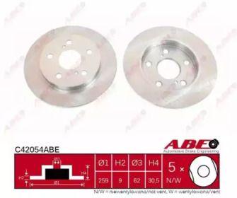 Тормозной диск на Тайота Королла 'ABE C42054ABE'.