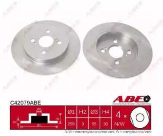 Тормозной диск на Тайота Ярис 'ABE C42079ABE'.