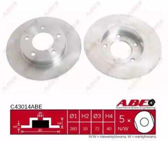 Тормозной диск на FORD PROBE 'ABE C43014ABE'.