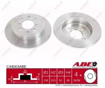 Тормозной диск на HONDA PRELUDE 'ABE C44003ABE'.