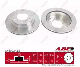Вентилируемый тормозной диск на Митсубиси Паджеро 'ABE C45003ABE'.