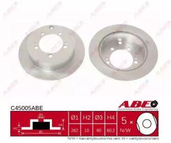 Задний тормозной диск на Митсубиси Аутлендер 'ABE C45005ABE'.