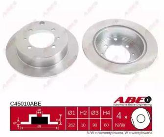 Тормозной диск на MITSUBISHI SPACE WAGON 'ABE C45010ABE'.