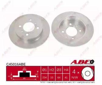 Тормозной диск на Митсубиси Каризма 'ABE C45016ABE'.