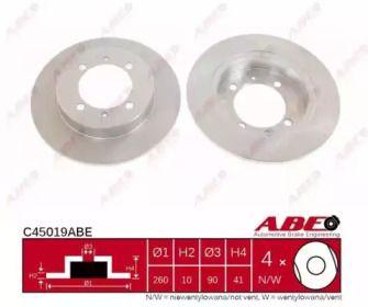 Задний тормозной диск на Вольво В40 'ABE C45019ABE'.