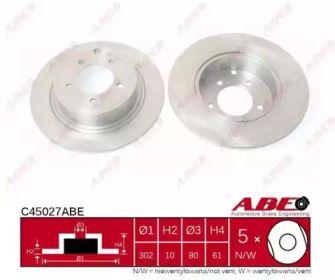 Задний тормозной диск на Митсубиси Аутлендер 'ABE C45027ABE'.