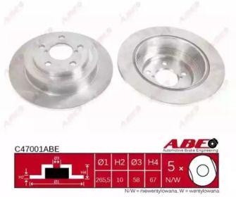Тормозной диск на SUBARU IMPREZA 'ABE C47001ABE'.