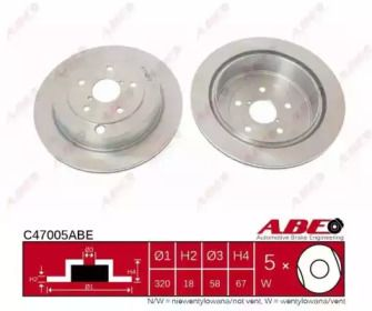 Вентилируемый задний тормозной диск на Субару Трибека 'ABE C47005ABE'.