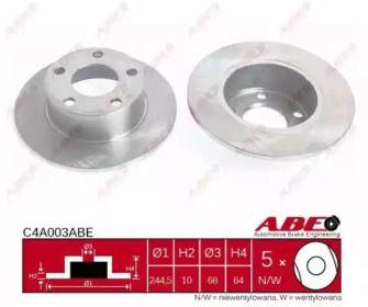 Тормозной диск на Шкода Суперб 'ABE C4A003ABE'.