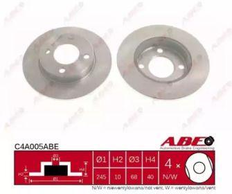 Тормозной диск на AUDI QUATTRO 'ABE C4A005ABE'.