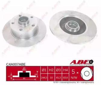 Тормозной диск на AUDI A4 'ABE C4A007ABE'.