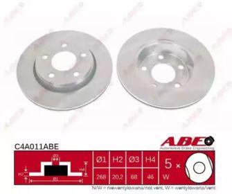 Вентилируемый тормозной диск на Ауди 200 'ABE C4A011ABE'.
